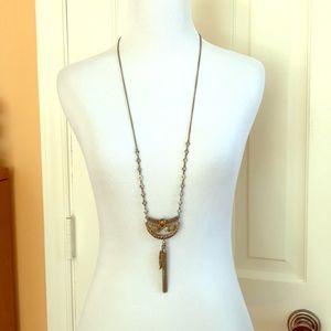 Gold Feather & Tassel Long Necklace